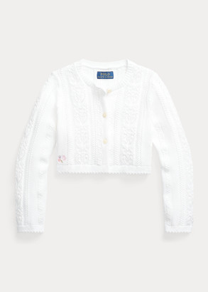 Ralph Lauren Pointelle-Knit Cropped Cotton Cardigan
