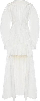Alexander McQueen Puff-Sleeve Cotton & Silk High-Low Dress