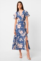 French Connection Verona Drape Midi Floral Tea Dress