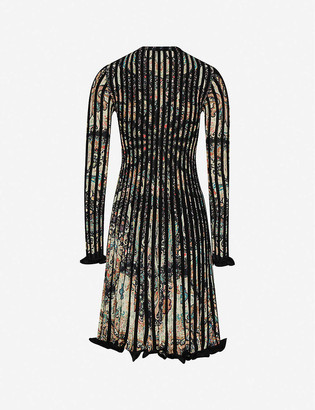 Etro Frilled-cuffs paisley-print knitted midi dress