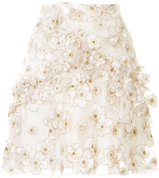 macgraw Souffle embroidered organza mini skirt
