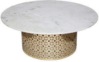 J & K Europe Imports Fifth Cocktail Table Brass And Marble