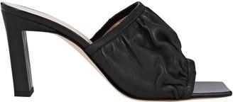 Wandler Ava Ruched Leather Slide Sandals