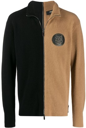 Fendi Maglia two-tone zipped cardigan