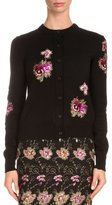 Givenchy Floral-Embroidered Novelty Cardigan, Black