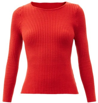 Thebe Magugu Boat-neck Ribbed Wool Sweater - Red