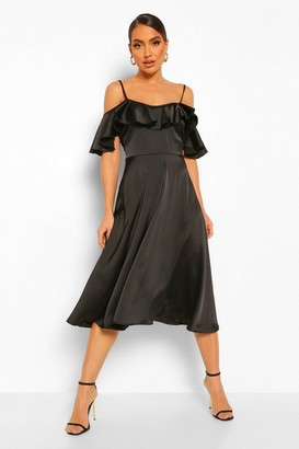 boohoo Satin Cold Shoulder Ruffle Midi Skater Dress