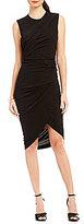 DKNY High Neck Asymmetrical Drape Dress