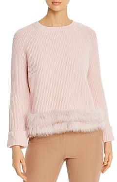 Max & Moi Fire Fox-Fur Trimmed Merino-Wool & Cashmere Sweater
