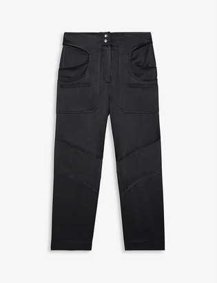 The Kooples Sport Cropped high-rise satin cargo trousers