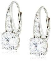"Crislu Esteemed Elegance"" Sterling Platinum Cubic Zirconia Leverback Earrings"