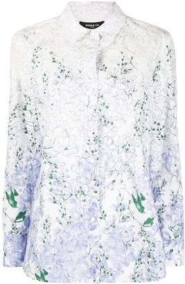 Paule Ka Floral Print Curved Hem Shirt