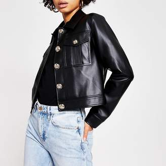River Island Black faux leather cropped jacket