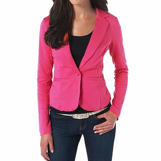 HOOUDO Women Blazer Office Lady Fashion Casual Suit Long Sleeve Tops Slim Jacket Button Short Solid Coat(Large