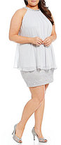 Jessica Howard Plus Beaded-Neck Chiffon Popover Dress