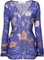 Diane von Furstenberg sheer floral print top