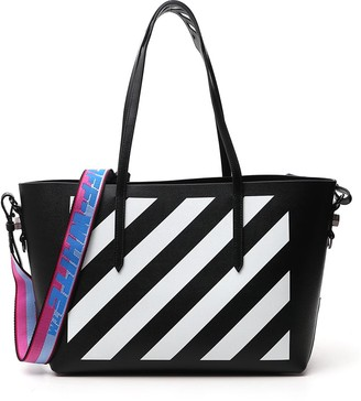 Off-White Diagonal Stripe Binder Tote Bag