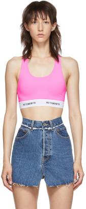 Vetements Pink Logo Band Sports Bra