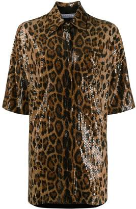 In The Mood For Love Valentina sequin leopard-print shirt dress