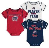 NHL Columbus Blue Jackets Boys' Infant/Toddler 3 pk Body Suit