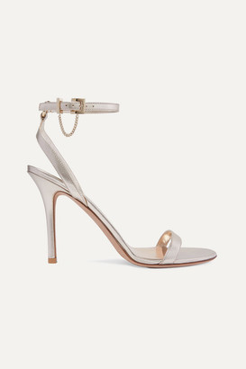 Valentino Garavani Tiny Chain 100 Metallic Leather Sandals - Gold