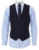 Burton Burton Slim Fit Navy Textured Waistcoat