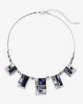 White House Black Market Silvertone Blue Geo Stone Short Necklace