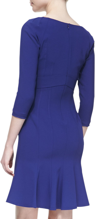 Zac Posen Crepe Long-Sleeve V-Neck Dress