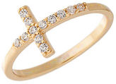 Lord & Taylor Goldtone Sterling Silver Cross Ring with Crystal Embellishments
