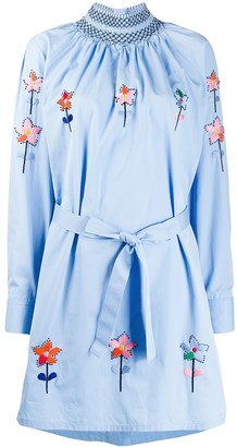 Prada Needlepoint Smocked Shirt Dress