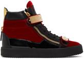 Giuseppe Zanotti Red Velvet London High-Top Sneakers