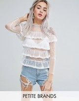 Glamorous Petite Allover Lace Frill Top