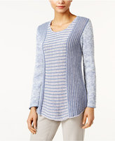 Style&Co. Style & Co Petite Marled Colorblocked Sweater, Only at Macy's