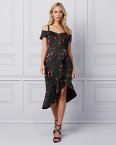 Le Château Floral Print Cold Shoulder Ruffle Dress
