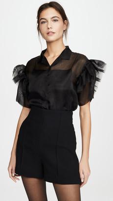 ANAÏS JOURDEN Organza Shirt with Ruffled Short Sleeves