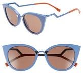 Fendi Women's 52Mm Cat Eye Sunglasses - Blue Azure