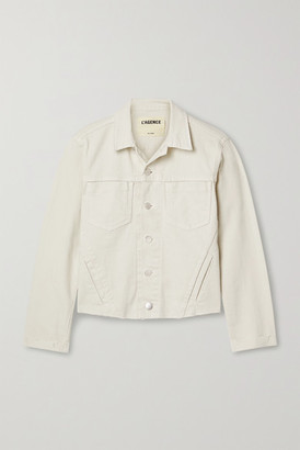 L'Agence Janelle Cropped Frayed Stretch-denim Jacket - Off-white
