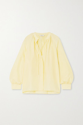 Vince Poet Tie-detailed Pleated Silk Blouse - Yellow