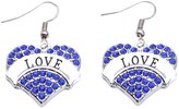 HuiLin Jewelry LOVE Earrings Crystal Adorned Heart Shaped Pendant French Hook Earrings Commemoration Day Jewelry