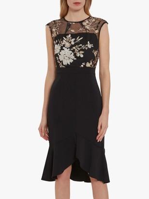 Gina Bacconi Eliora Crepe Dress, Black/Pearl