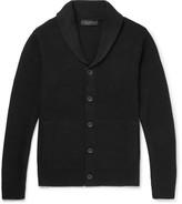Rag & Bone Cardiff Shawl-Collar Textured-Knit Wool and Cotton-Blend Cardigan