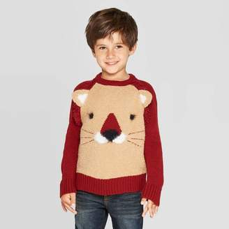 Cat & Jack Toddler Boys' Long Sleeve Lion Pullover Sweater Brown/Marron