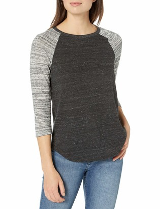 Alternative womens61352DBEco Jersey Space Dye Raglan Baseball Tee 3/4 Sleeve T-Shirt - Gray - X-Small