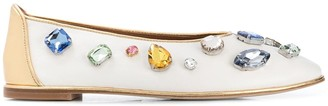 Tory Burch Round Toe Stone-Embellished Ballerinas