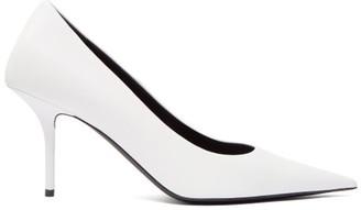 Balenciaga Square Knife Leather Pumps - Womens - White