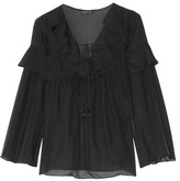Rachel Zoe Anna Ruffled Silk-georgette Top - Black