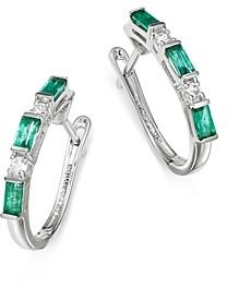 Bloomingdale's Diamond & Emerald Delicate Hoop Earrings in 14K White Gold - 100% Exclusive