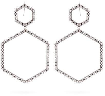 Isabel Marant Here It Is Crystal Hexagon Drop Earrings - Womens - Silver