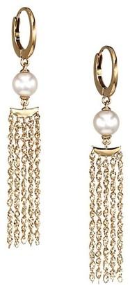 Celara 14K Yellow Gold & 6MM Pearl Moon Fringe Huggie Hoop Earrings