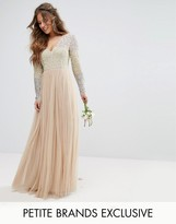 Maya Petite Long Sleeve V Neck Tulle Maxi Dress With Multi Colour Sequin